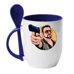 Кружка з керамічною ложкою Лебовськи з пістолетом