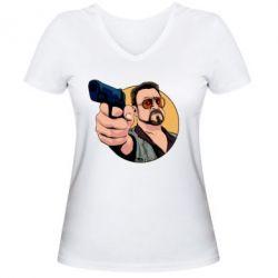Жіноча футболка з V-подібним вирізом Лебовськи з пістолетом