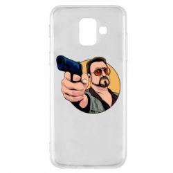 Купить Большой Лебовски, Чехол для Samsung A6 2018 Лебовски с пушкой, FatLine