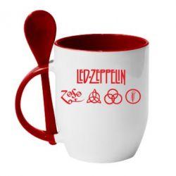 Кружка с керамической ложкой Led-Zeppelin Logo