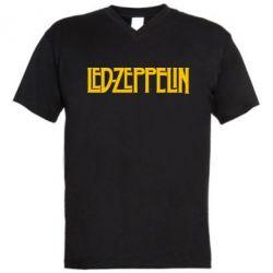 Мужская футболка  с V-образным вырезом Led Zeppelin - FatLine