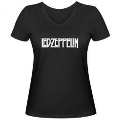 Женская футболка с V-образным вырезом Led Zeppelin - FatLine