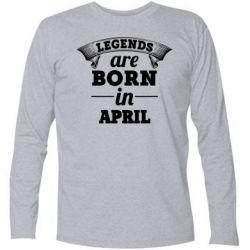 Купить Футболка с длинным рукавом Legends are born in April, FatLine