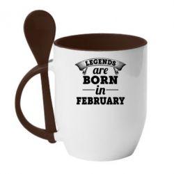 Кружка с керамической ложкой Legends are born in February
