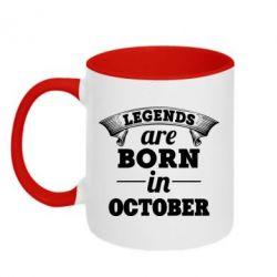 Кружка двухцветная 320ml Legends are born in October