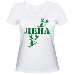 Женская футболка с V-образным вырезом Лена