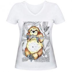 Купить Женская футболка с V-образным вырезом Ленивец на дереве, FatLine