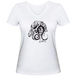 Женская футболка с V-образным вырезом Leo (Лев) - FatLine