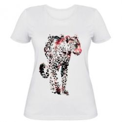 Женская футболка Леопард Акварель
