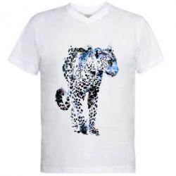 Чоловіча футболка з V-подібним вирізом Леопард Акварель