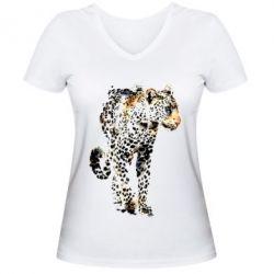 Женская футболка с V-образным вырезом Леопард Акварель