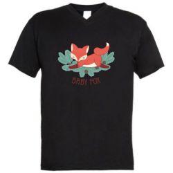 Мужская футболка  с V-образным вырезом Лесная семейка. Лисенок