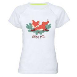 Женская спортивная футболка Лесная семейка. Лисенок