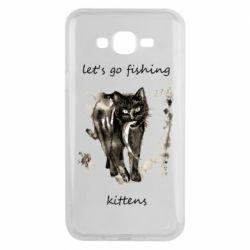 Чехол для Samsung J7 2015 Let's go fishing  kittens