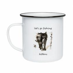 Кружка эмалированная Let's go fishing  kittens