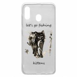Чехол для Samsung A20 Let's go fishing  kittens