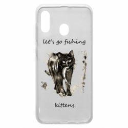 Чехол для Samsung A30 Let's go fishing  kittens