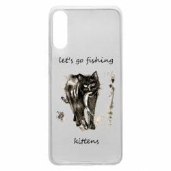 Чехол для Samsung A70 Let's go fishing  kittens