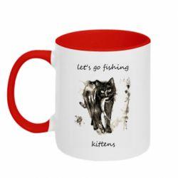 Кружка двухцветная 320ml Let's go fishing  kittens
