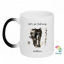 Кружка-хамелеон Let's go fishing  kittens