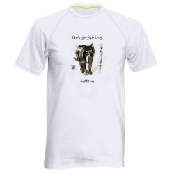 Мужская спортивная футболка Let's go fishing  kittens
