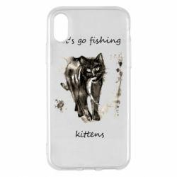 Чехол для iPhone X/Xs Let's go fishing  kittens