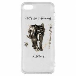 Чехол для iPhone5/5S/SE Let's go fishing  kittens