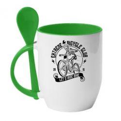 Кружка з керамічною ложкою Let's Ride Bike