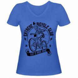 Жіноча футболка з V-подібним вирізом Let's Ride Bike
