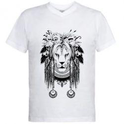 Мужская футболка  с V-образным вырезом Лев Инди
