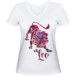 Женская футболка с V-образным вырезом Лев звезды
