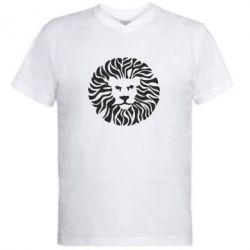 Мужская футболка  с V-образным вырезом лев - FatLine