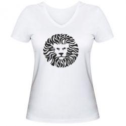 Женская футболка с V-образным вырезом лев - FatLine