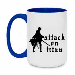 Кружка двоколірна 420ml Levi from Attack on Titan