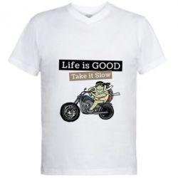 Чоловіча футболка з V-подібним вирізом Life is good, take it show