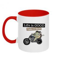 Кружка двоколірна 320ml Life is good, take it show