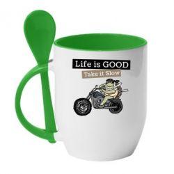 Кружка з керамічною ложкою Life is good, take it show