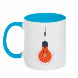 Кружка двухцветная 320ml Light bulb vector
