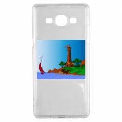Чехол для Samsung A5 2015 Lighthouse and ship vector
