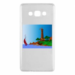 Чехол для Samsung A7 2015 Lighthouse and ship vector