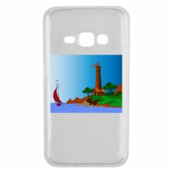 Чехол для Samsung J1 2016 Lighthouse and ship vector