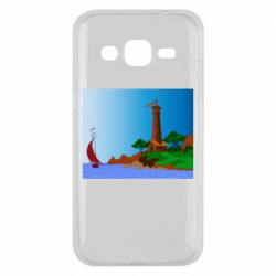 Чехол для Samsung J2 2015 Lighthouse and ship vector