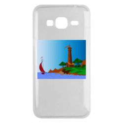 Чехол для Samsung J3 2016 Lighthouse and ship vector
