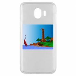 Чехол для Samsung J4 Lighthouse and ship vector