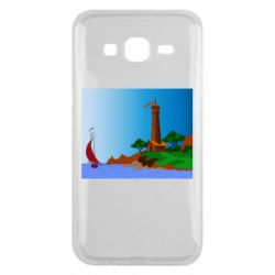 Чехол для Samsung J5 2015 Lighthouse and ship vector