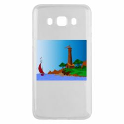 Чехол для Samsung J5 2016 Lighthouse and ship vector