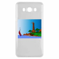 Чехол для Samsung J7 2016 Lighthouse and ship vector