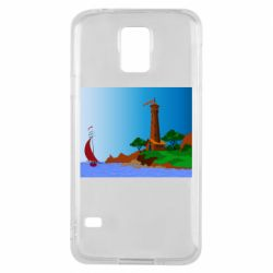 Чехол для Samsung S5 Lighthouse and ship vector