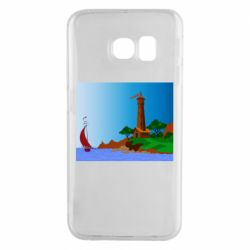 Чехол для Samsung S6 EDGE Lighthouse and ship vector