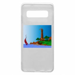 Чехол для Samsung S10 Lighthouse and ship vector